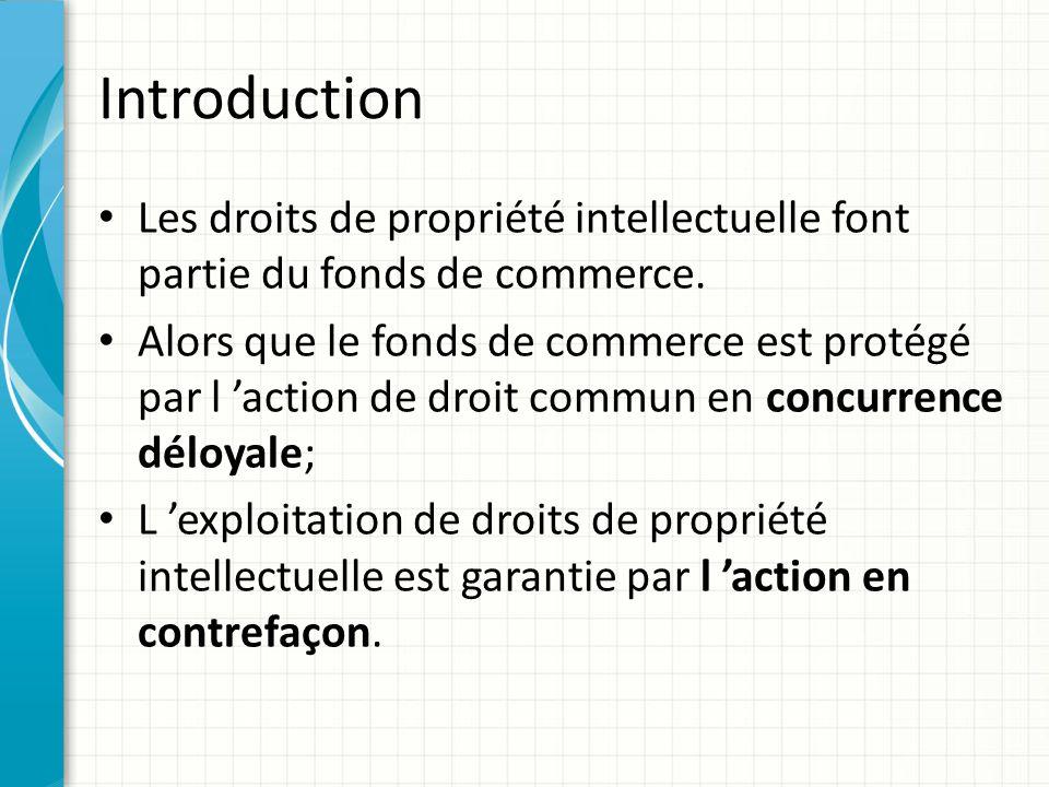 Introduction Les droits de propriété intellectuelle font partie du fonds de commerce. Alors que le fonds de commerce est protégé par l 'action de droi