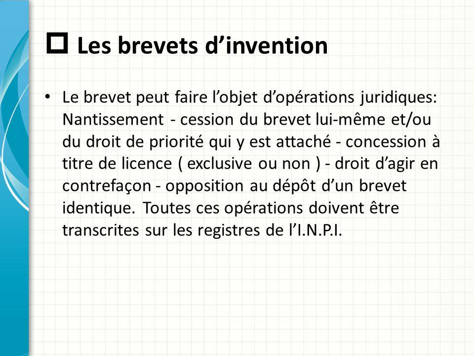  Les brevets d'invention Le brevet peut faire l'objet d'opérations juridiques: Nantissement - cession du brevet lui-même et/ou du droit de priorité q