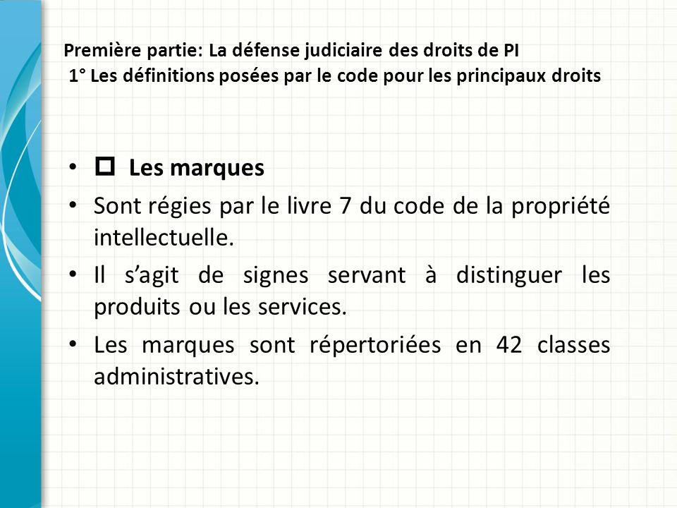 Première partie: La défense judiciaire des droits de PI 1° Les définitions posées par le code pour les principaux droits  Les marques Sont régies par