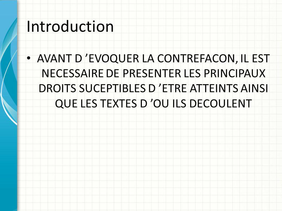 Introduction AVANT D 'EVOQUER LA CONTREFACON, IL EST NECESSAIRE DE PRESENTER LES PRINCIPAUX DROITS SUCEPTIBLES D 'ETRE ATTEINTS AINSI QUE LES TEXTES D