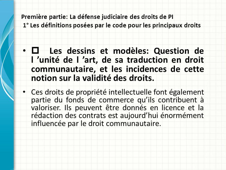 Première partie: La défense judiciaire des droits de PI 1° Les définitions posées par le code pour les principaux droits  Les dessins et modèles: Que
