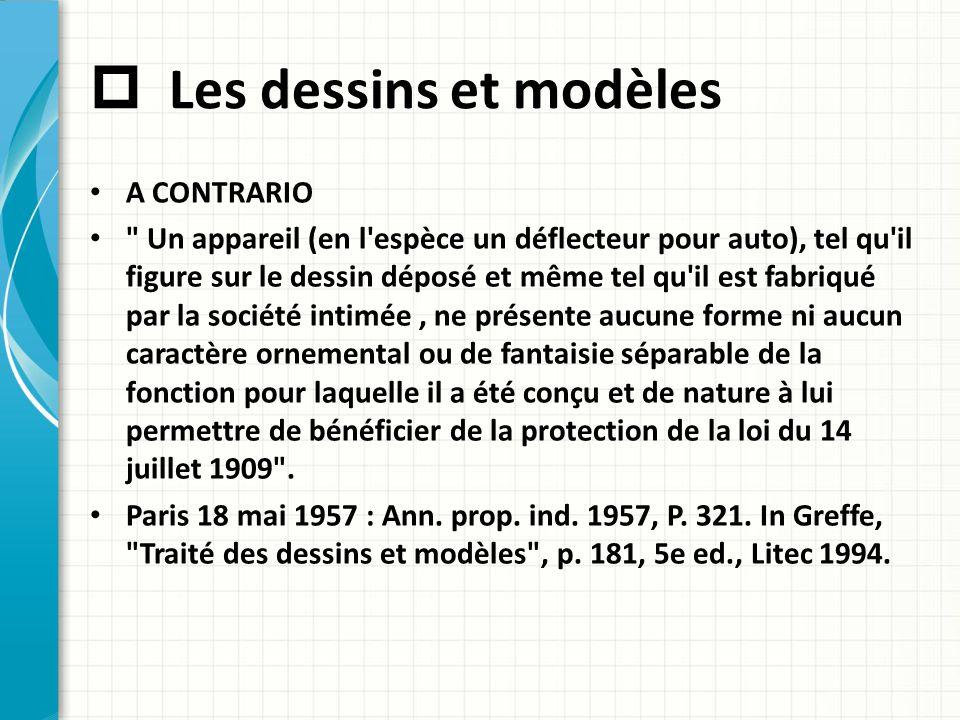  Les dessins et modèles A CONTRARIO