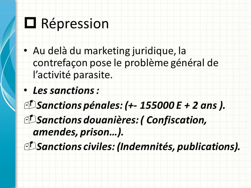  Répression Au delà du marketing juridique, la contrefaçon pose le problème général de l'activité parasite. Les sanctions : -Sanctions pénales: (+- 1