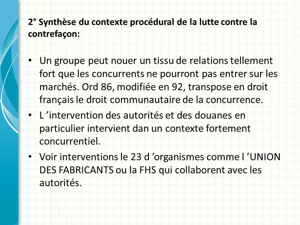 2° Synthèse du contexte procédural de la lutte contre la contrefaçon: Un groupe peut nouer un tissu de relations tellement fort que les concurrents ne