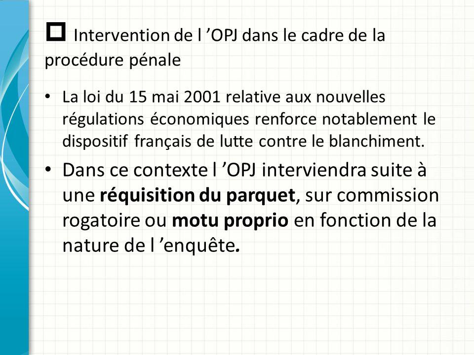  Intervention de l 'OPJ dans le cadre de la procédure pénale La loi du 15 mai 2001 relative aux nouvelles régulations économiques renforce notablemen