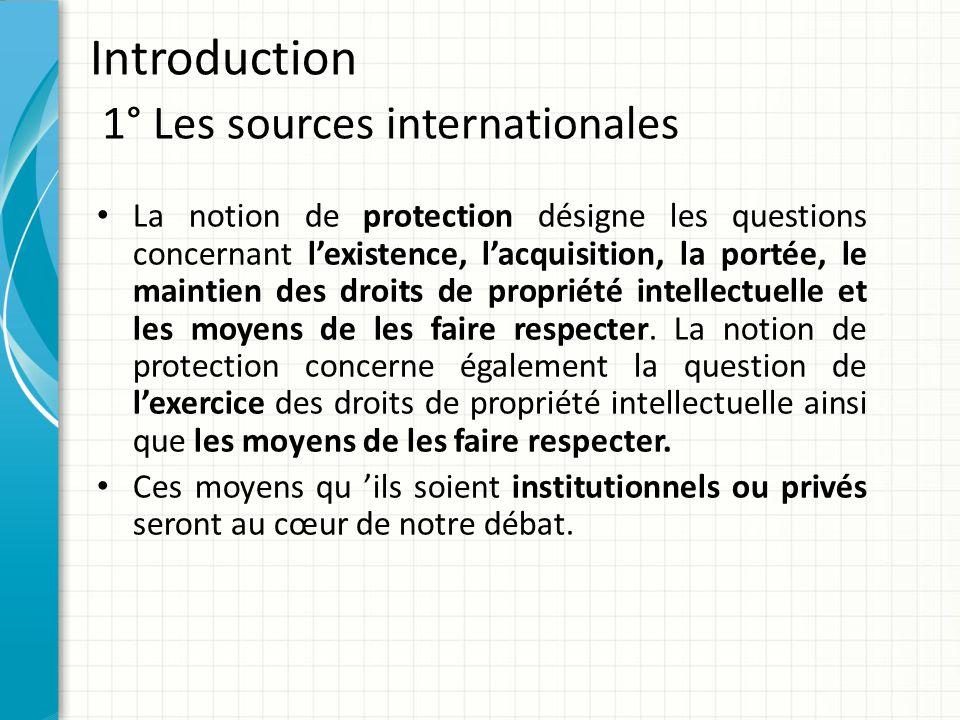 Introduction 1° Les sources internationales Ce principe du renforcement des moyens de protection de la propriété intellectuelle est affirmé dans l'accord ADPIC.