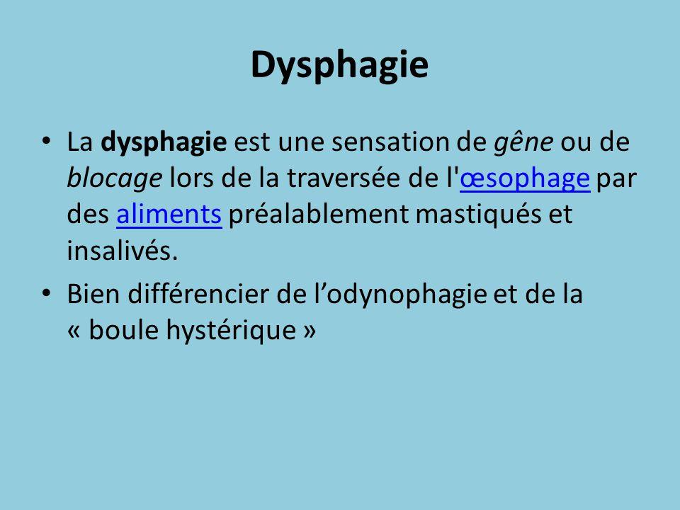 Dysphagie La dysphagie est une sensation de gêne ou de blocage lors de la traversée de l'œsophage par des aliments préalablement mastiqués et insalivé