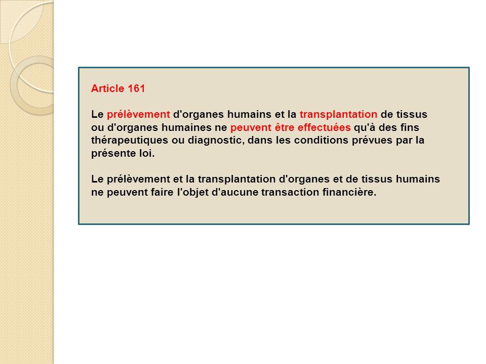 Article 161 Le prélèvement d'organes humains et la transplantation de tissus ou d'organes humaines ne peuvent être effectuées qu'à des fins thérapeuti
