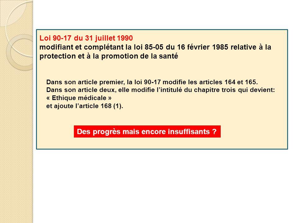 Loi 90-17 du 31 juillet 1990 modifiant et complétant la loi 85-05 du 16 février 1985 relative à la protection et à la promotion de la santé Dans son a