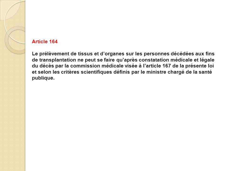 Article 164 Le prélèvement de tissus et d'organes sur les personnes décédées aux fins de transplantation ne peut se faire qu'après constatation médica