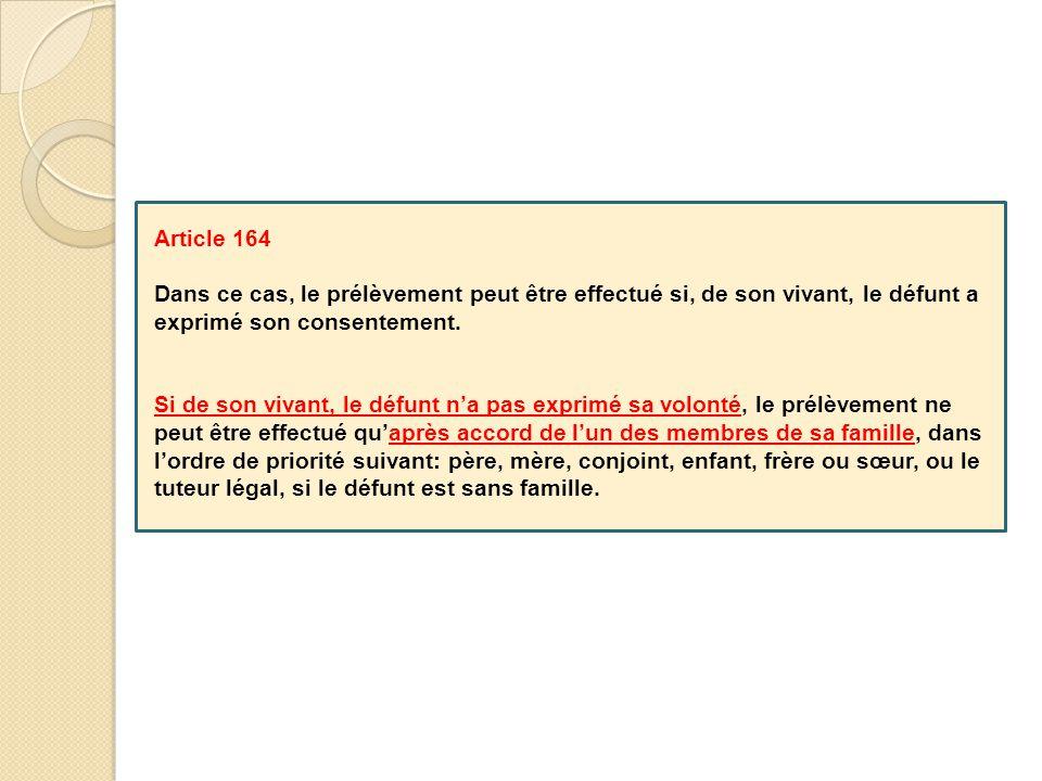Article 164 Dans ce cas, le prélèvement peut être effectué si, de son vivant, le défunt a exprimé son consentement. Si de son vivant, le défunt n'a pa