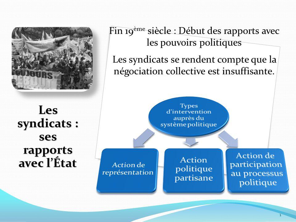 Les syndicats : ses rapports avec l'État 1 Fin 19 ème siècle : Début des rapports avec les pouvoirs politiques Les syndicats se rendent compte que la négociation collective est insuffisante.