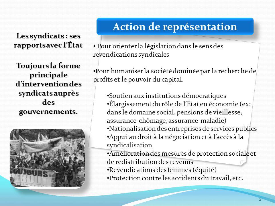 Les syndicats : ses rapports avec l'État Toujours la forme principale d'intervention des syndicats auprès des gouvernements.