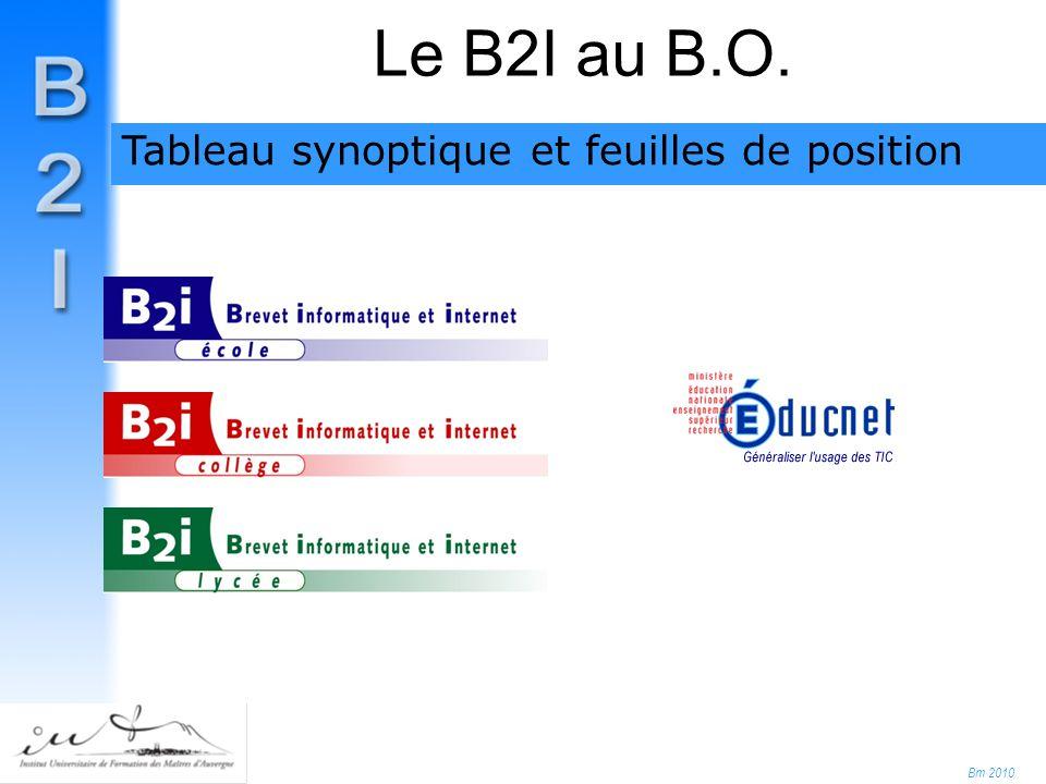 Bm 2010 Le B2I au B.O. Tableau synoptique et feuilles de position