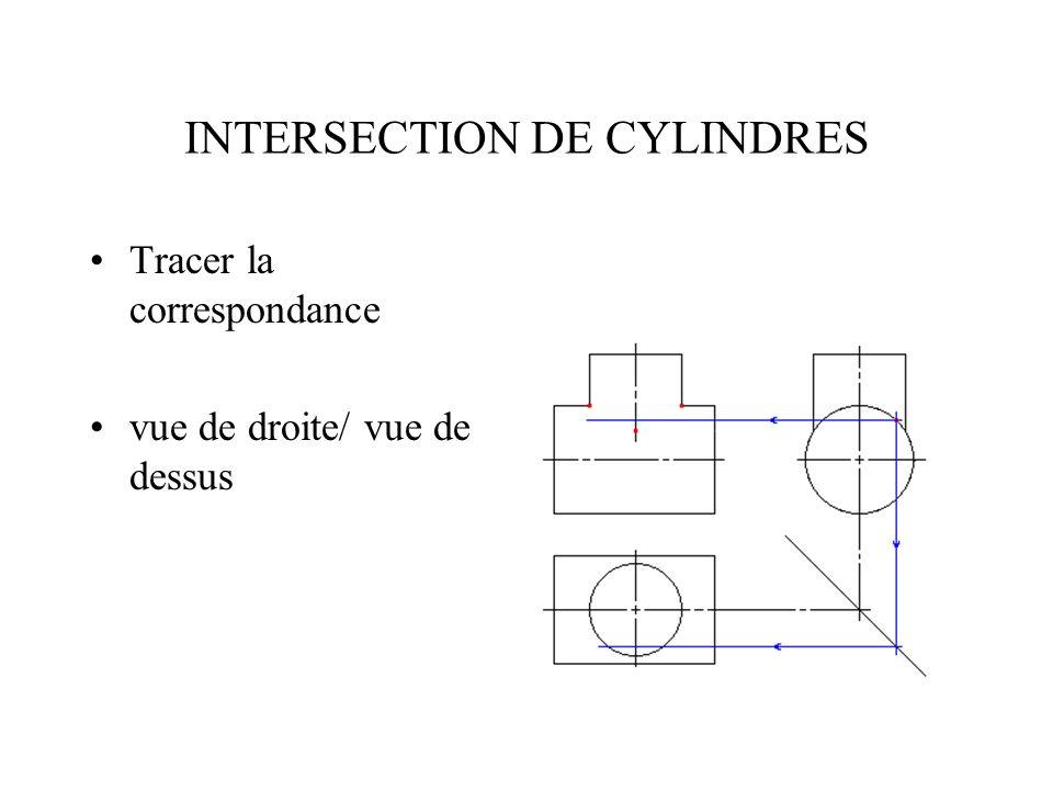INTERSECTION DE CYLINDRES Repérer les 2 points de correspondances sur la vue de dessus.