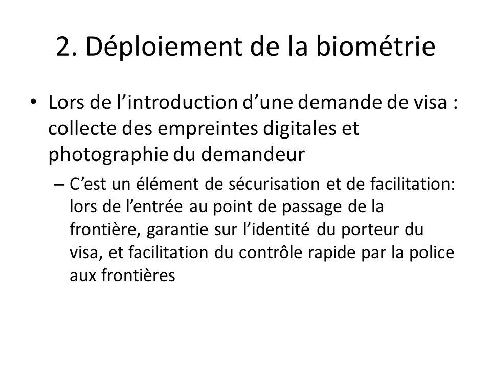 2. Déploiement de la biométrie Lors de l'introduction d'une demande de visa : collecte des empreintes digitales et photographie du demandeur – C'est u