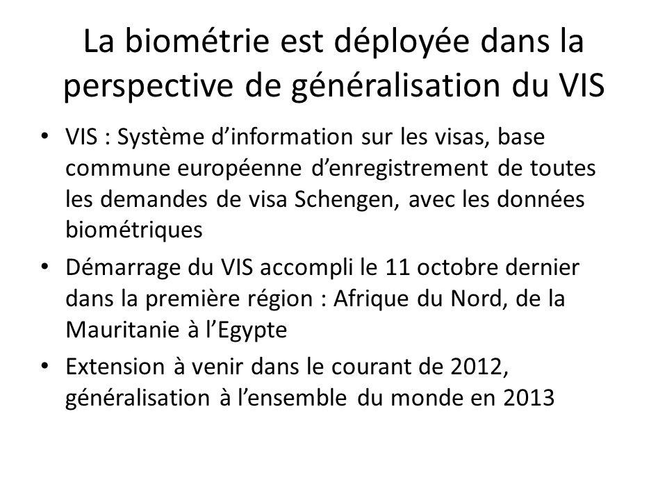 La biométrie est déployée dans la perspective de généralisation du VIS VIS : Système d'information sur les visas, base commune européenne d'enregistre