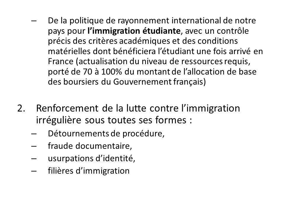 – De la politique de rayonnement international de notre pays pour l'immigration étudiante, avec un contrôle précis des critères académiques et des conditions matérielles dont bénéficiera l'étudiant une fois arrivé en France (actualisation du niveau de ressources requis, porté de 70 à 100% du montant de l'allocation de base des boursiers du Gouvernement français) 2.Renforcement de la lutte contre l'immigration irrégulière sous toutes ses formes : – Détournements de procédure, – fraude documentaire, – usurpations d'identité, – filières d'immigration