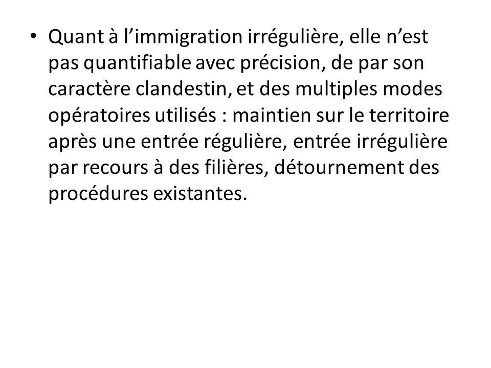 Quant à l'immigration irrégulière, elle n'est pas quantifiable avec précision, de par son caractère clandestin, et des multiples modes opératoires utilisés : maintien sur le territoire après une entrée régulière, entrée irrégulière par recours à des filières, détournement des procédures existantes.