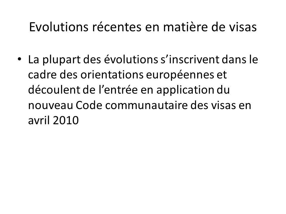 Evolutions récentes en matière de visas La plupart des évolutions s'inscrivent dans le cadre des orientations européennes et découlent de l'entrée en application du nouveau Code communautaire des visas en avril 2010