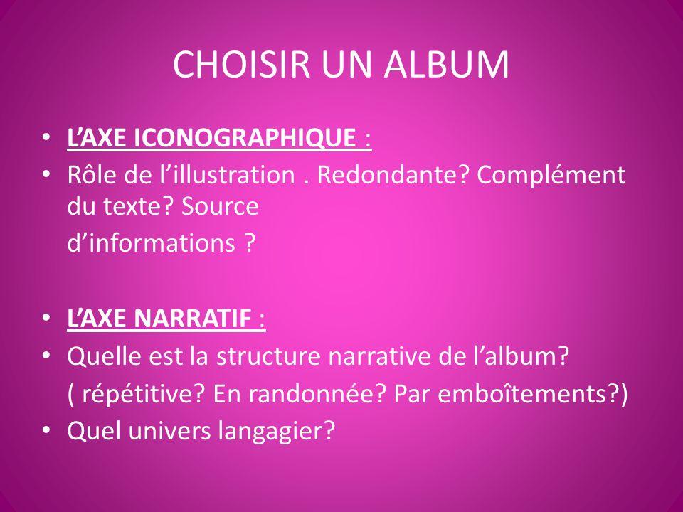 CHOISIR UN ALBUM L'AXE ICONOGRAPHIQUE : Rôle de l'illustration. Redondante? Complément du texte? Source d'informations ? L'AXE NARRATIF : Quelle est l