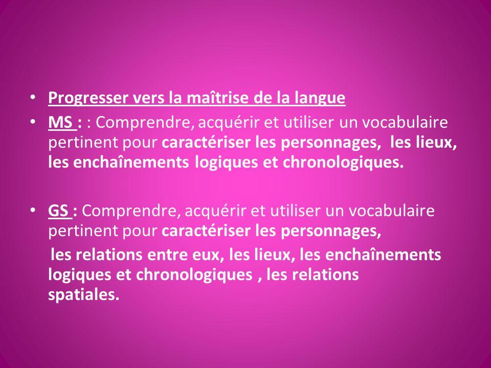 Progresser vers la maîtrise de la langue MS : : Comprendre, acquérir et utiliser un vocabulaire pertinent pour caractériser les personnages, les lieux