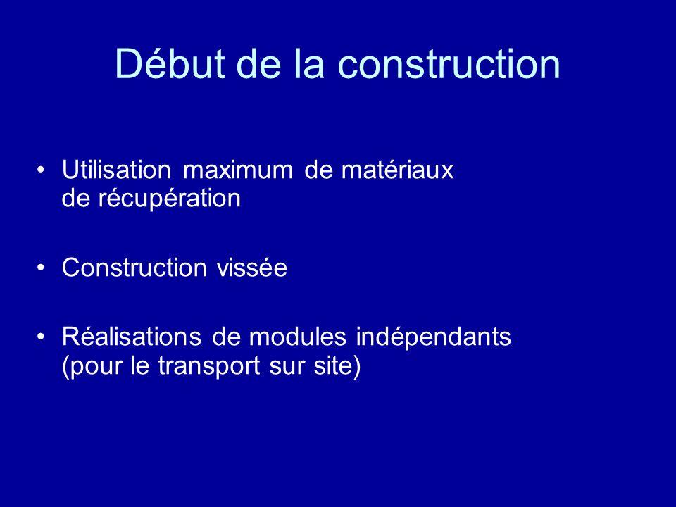 Début de la construction Utilisation maximum de matériaux de récupération Construction vissée Réalisations de modules indépendants (pour le transport sur site)