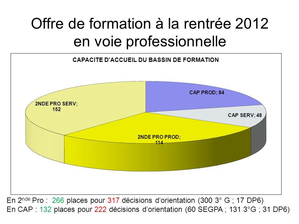 Offre de formation à la rentrée 2012 en voie professionnelle En 2 nde Pro : 266 places pour 317 décisions d'orientation (300 3° G ; 17 DP6) En CAP : 132 places pour 222 décisions d'orientation (60 SEGPA ; 131 3°G ; 31 DP6)