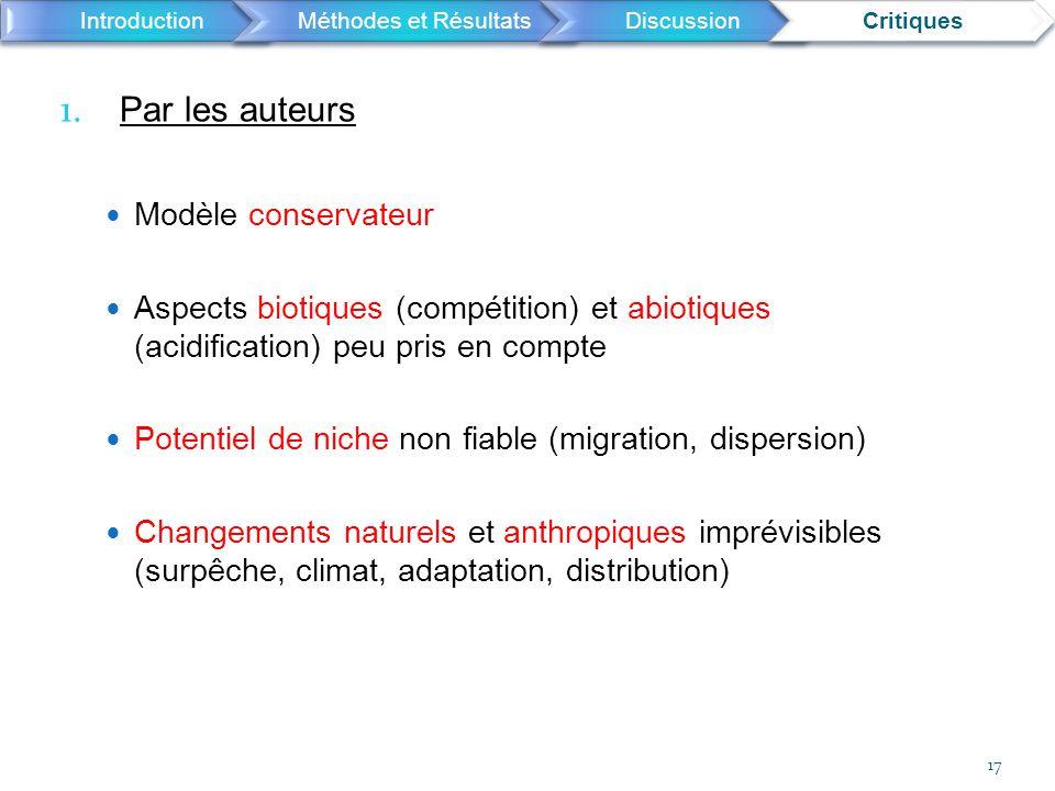 1. Par les auteurs Modèle conservateur Aspects biotiques (compétition) et abiotiques (acidification) peu pris en compte Potentiel de niche non fiable