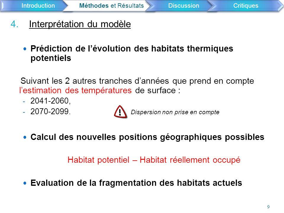 4. Interprétation du modèle Prédiction de l'évolution des habitats thermiques potentiels Suivant les 2 autres tranches d'années que prend en compte l'