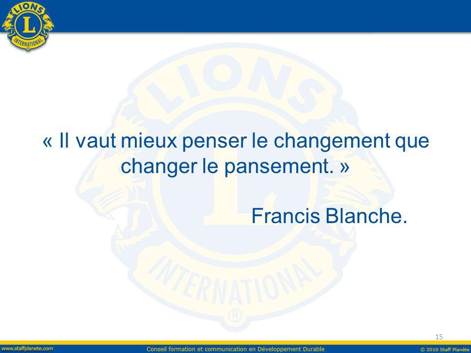 « Il vaut mieux penser le changement que changer le pansement. » Francis Blanche. 15