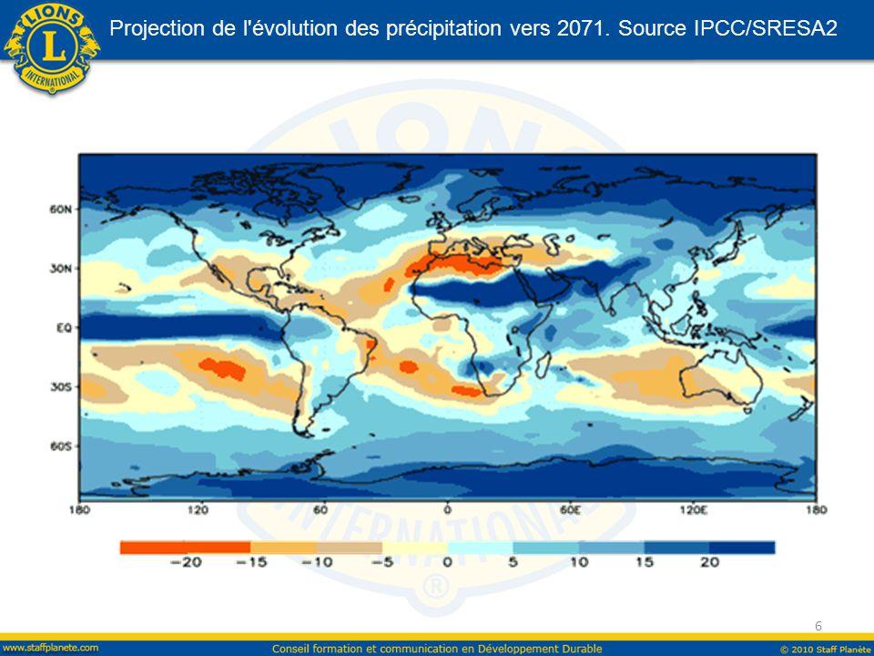 Projection de l évolution des précipitation vers 2071. Source IPCC/SRESA2 6