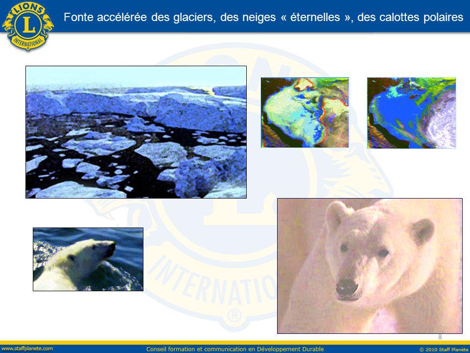 Fonte accélérée des glaciers, des neiges « éternelles », des calottes polaires 8