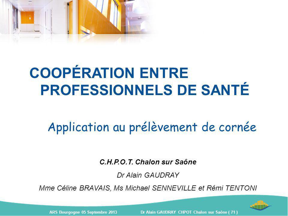 COOPÉRATION ENTRE PROFESSIONNELS DE SANTÉ Application au prélèvement de cornée C.H.P.O.T. Chalon sur Saône Dr Alain GAUDRAY Mme Céline BRAVAIS, Ms Mic