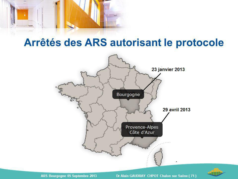 Arrêtés des ARS autorisant le protocole ARS Bourgogne 05 Septembre 2013 Dr Alain GAUDRAY CHPOT Chalon sur Saône ( 71 )