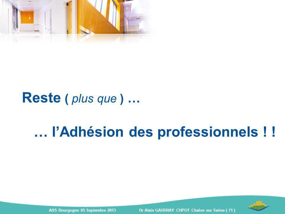Reste ( plus que ) … … l'Adhésion des professionnels ! ! ARS Bourgogne 05 Septembre 2013 Dr Alain GAUDRAY CHPOT Chalon sur Saône ( 71 )