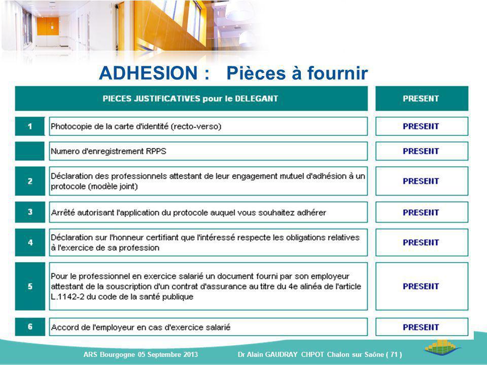 ADHESION : Pièces à fournir ARS Bourgogne 05 Septembre 2013 Dr Alain GAUDRAY CHPOT Chalon sur Saône ( 71 )