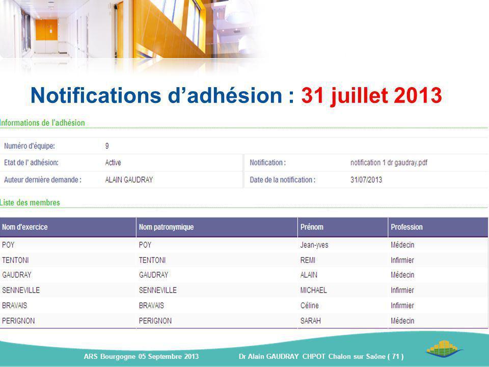 Notifications d'adhésion : 31 juillet 2013 ARS Bourgogne 05 Septembre 2013 Dr Alain GAUDRAY CHPOT Chalon sur Saône ( 71 )