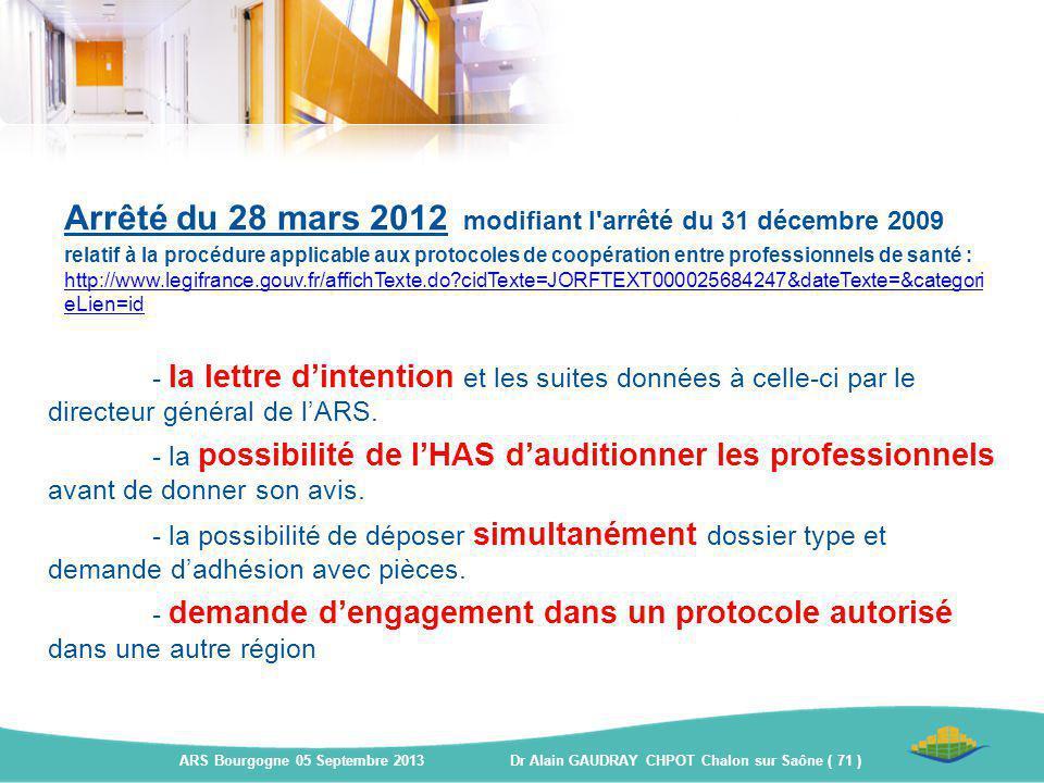 Arrêté du 28 mars 2012 modifiant l'arrêté du 31 décembre 2009 relatif à la procédure applicable aux protocoles de coopération entre professionnels de