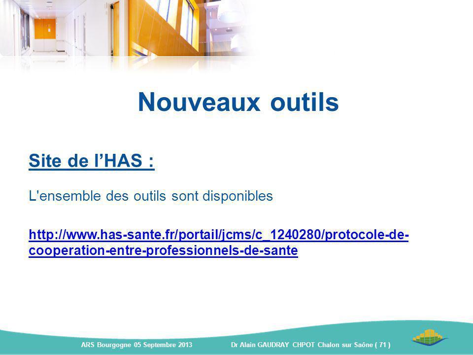Nouveaux outils Site de l'HAS : L'ensemble des outils sont disponibles http://www.has-sante.fr/portail/jcms/c_1240280/protocole-de- cooperation-entre-