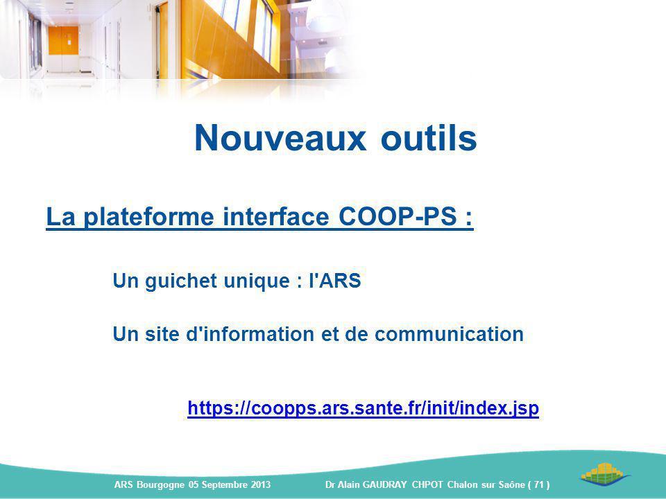 La plateforme interface COOP-PS : Un guichet unique : l'ARS Un site d'information et de communication https://coopps.ars.sante.fr/init/index.jsp Nouve