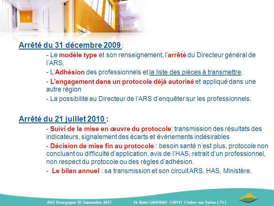 Arrêté du 31 décembre 2009 : - Le modèle type et son renseignement, l'arrêté du Directeur général de l'ARS, - L'Adhésion des professionnels et la list