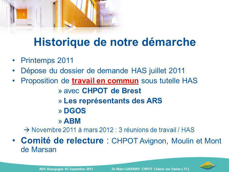 Historique de notre démarche Printemps 2011 Dépose du dossier de demande HAS juillet 2011 Proposition de travail en commun sous tutelle HAS »avec CHPO