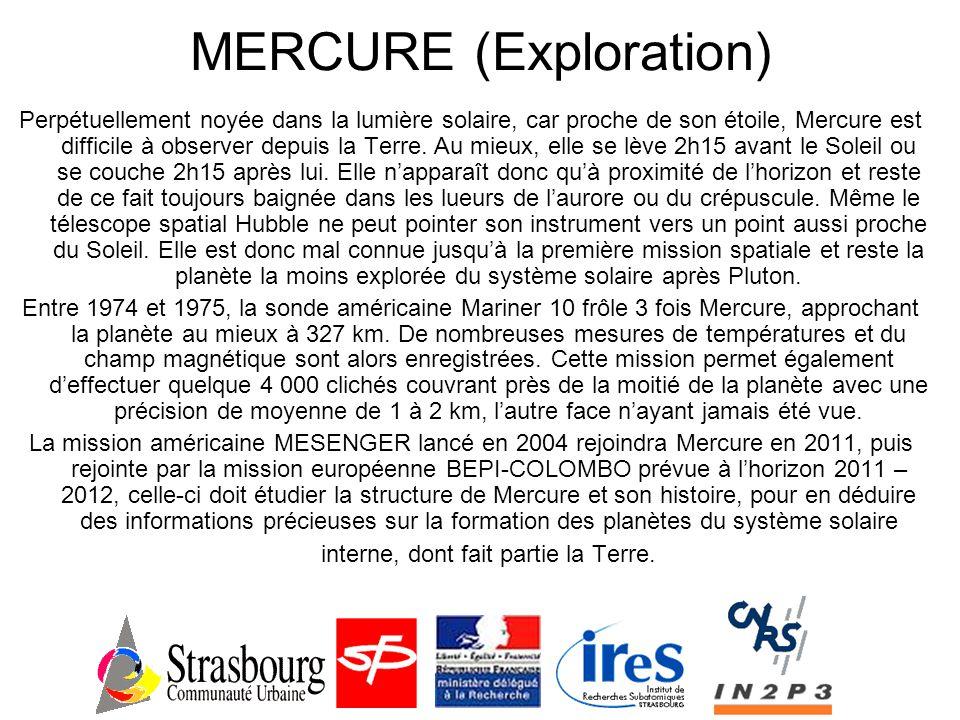MERCURE (Données) MercureTerre Diamètre à l'équateur4880 Km12 756 Km Densité moyenne relative (g/cm 3 ) 5,425,52 Distance moyenne au soleil 55,9 millions de km 149 millions de km Durée de l'orbite88 jours365,25 jours Période de rotation58,7 jours23 h 56 mn Composition de l'atmosphère 42% d'Oxygène 29 % de Sodium, 22% d'Hydrogène et 6% d'Hélium 77% d'Azote 21 % d'Oxygène
