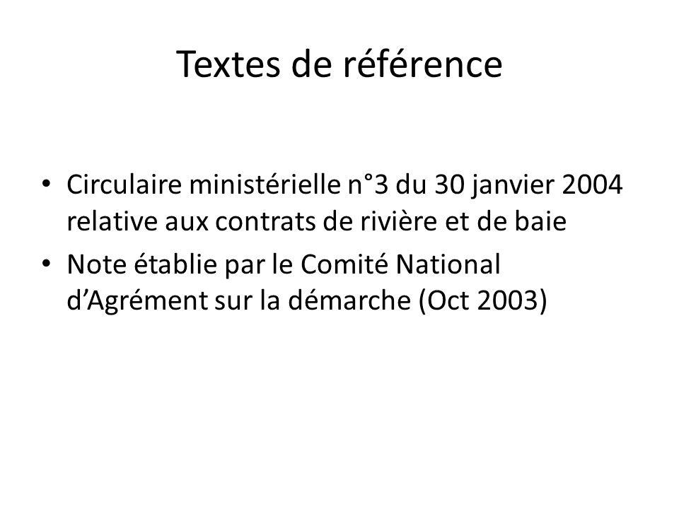 Textes de référence Circulaire ministérielle n°3 du 30 janvier 2004 relative aux contrats de rivière et de baie Note établie par le Comité National d'