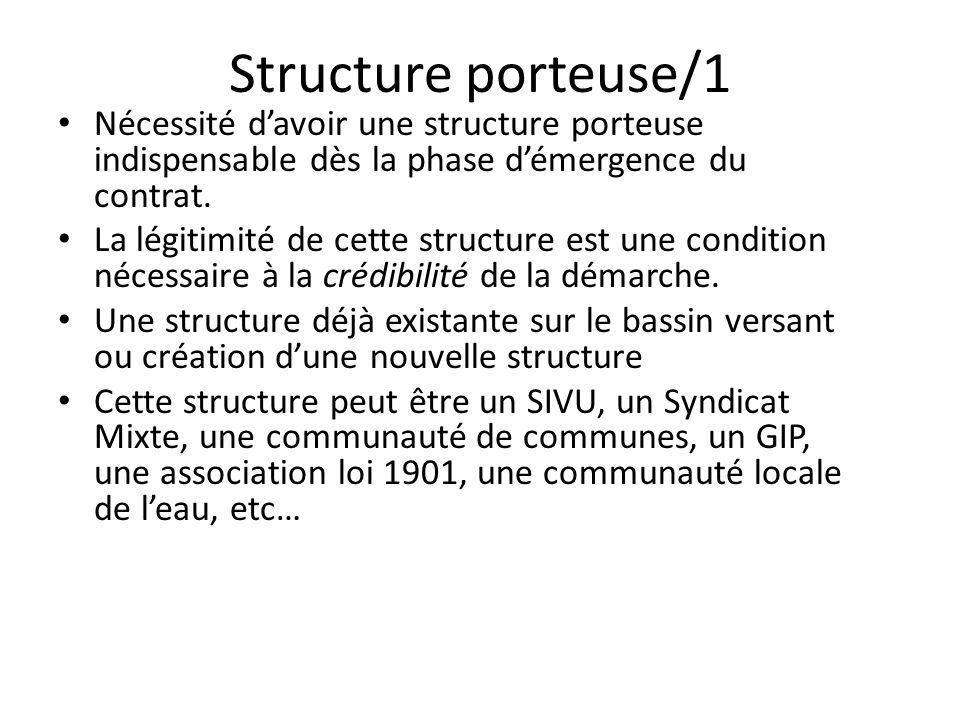 Structure porteuse/2 La structure doit avoir la « compétence » pour la coordination et l'animation du contrat de rivière et être maître d'ouvrage des études générales du bassin versant.