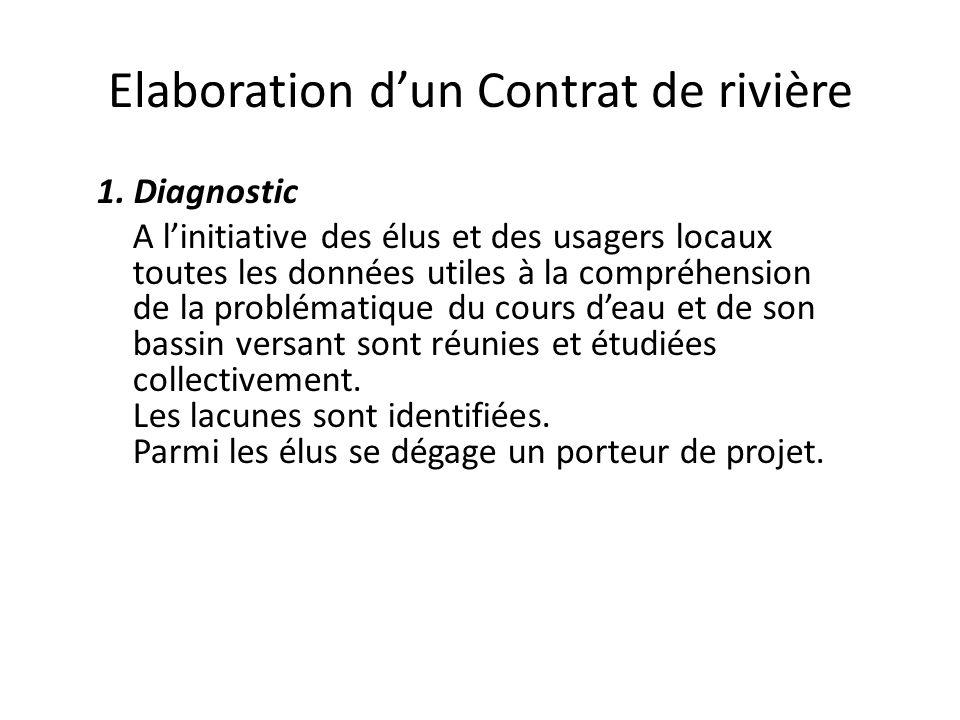 Elaboration d'un Contrat de rivière 1. Diagnostic A l'initiative des élus et des usagers locaux toutes les données utiles à la compréhension de la pro