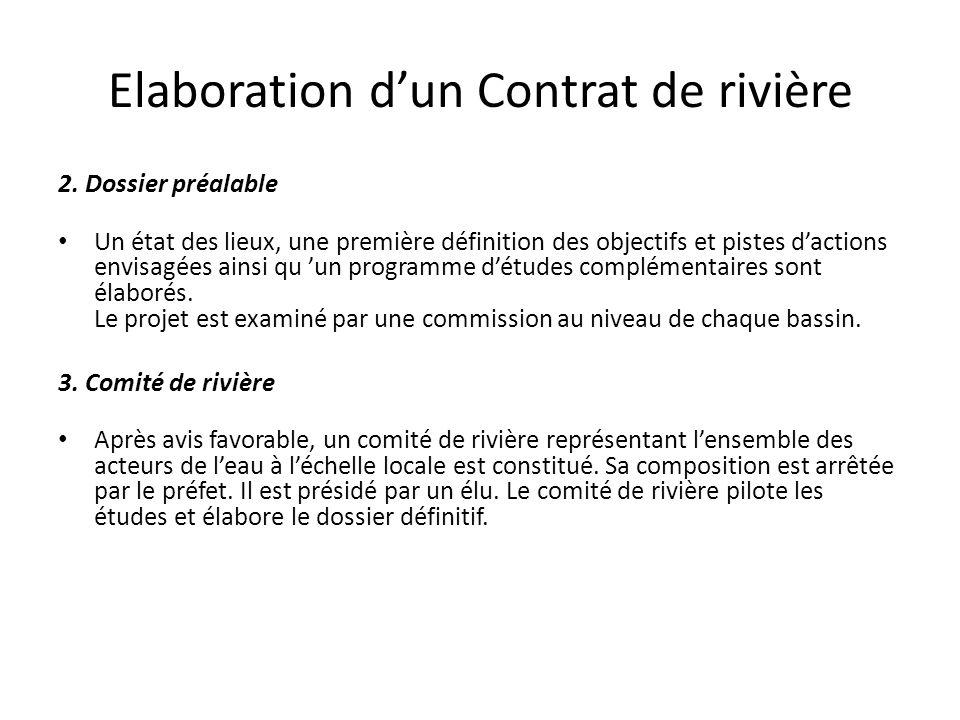 Elaboration d'un Contrat de rivière 2. Dossier préalable Un état des lieux, une première définition des objectifs et pistes d'actions envisagées ainsi
