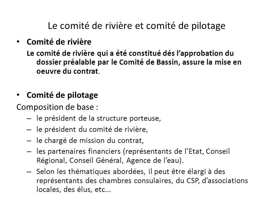 Le comité de rivière et comité de pilotage Comité de rivière Le comité de rivière qui a été constitué dés l'approbation du dossier préalable par le Co