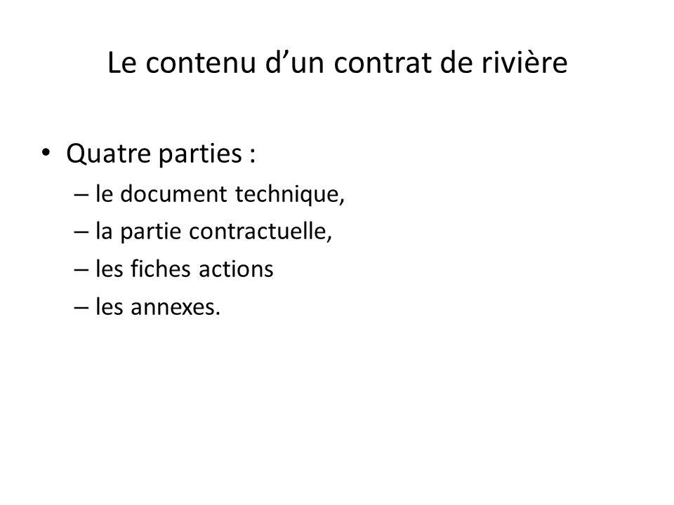 Le contenu d'un contrat de rivière : PARTIE 1 : PRESENTATION DU BASSIN VERSANT – TITRE 1 – LE CONTEXTE DU CONTRAT DE RIVIERE – TITRE 2 – LES CARACTERISTIQUES GENERALES DU BASSIN VERSANT PARTIE 2 : ETAT DES LIEUX DU BASSIN VERSANT – TITRE 1 – USAGES – TITRE 2 – QUALITE DES EAUX SUPERFICIELLES ET DES EAUX SOUTERRAINES – TITRE 3 –QUALITE PHYSIQUE DES COURS D'EAU ET HYDRAULIQUE – TITRE 4 – EQUILIBRE QUANTITATIF DE LA RESSOURCE EN EAU, ETIAGES – TITRE 5 – ETAT DES MILIEUX AQUATIQUES ET DES PAYSAGES – TITRE 6 – PERSPECTIVES D'EVOLUTION DU TERRITOIRE PARTIE 3 : ENJEUX, OBJECTIFS ET SUIVI DU CONTRAT DE RIVIERE – TITRE 1 – LES ENJEUX DU BASSIN VERSANT ET SYNTHESE DES PROBLEMATIQUES – TITRE 2 – OUTILS DE PLANIFICATION, OBJECTIFS REGLEMENTAIRES ET AUTRES DEMARCHES D'AMENAGEMENT DU TERRITOIRE.